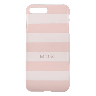 Rose Pink Stripe Monogram iPhone 8 Plus/7 Plus Case