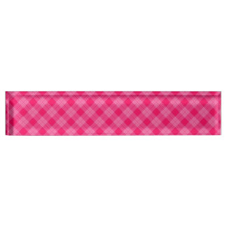 ROSE PINK TARTAN (a pale red design) ~ Name Plate