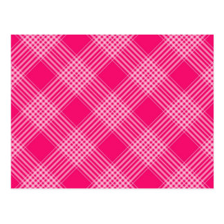 ROSE PINK TARTAN (a pale red design) ~ Postcard