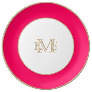 Rose Pink Valentines Solid Porcelain Plates