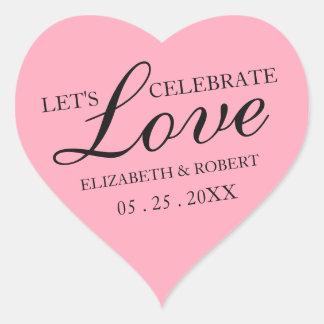 Rose Pink Wedding | Sweet Heart Invitation Sticker