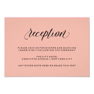 Rose Pink with Black Calligraphy Wedding Reception 9 Cm X 13 Cm Invitation Card