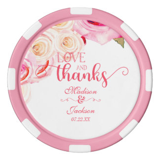 Rose Pink & Yellow Floral Wreath Wedding Thank You Poker Chips