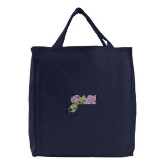 Rose Pocket Topper Embroidered Tote Bag