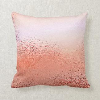 Rose Powder Gold Glass Peach Metallic Pillow