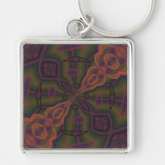 Rose Propeller Kaleidoscope Silver-Colored Square Key Ring