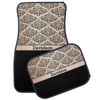 Rose Quartz and Black Damask | Personalize Car Mat