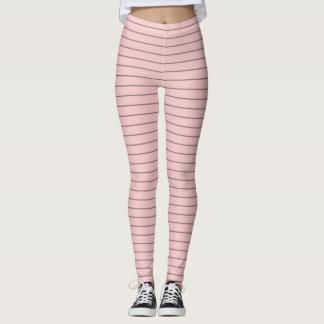 Rose Quartz and Black Stripes Leggings
