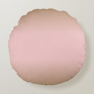 Rose Quartz and Iced Coffee Ombre Pink Brown Round Cushion