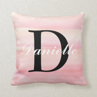 Rose Quartz Blush Baby Pink Monogram Cushion