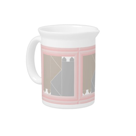 Rose Quartz Cat Quilt Grey and Coffee Cats Kawaii Drink Pitcher