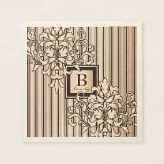 Rose Quartz Damask Stripes Monogram Girly Neutral Paper Serviettes