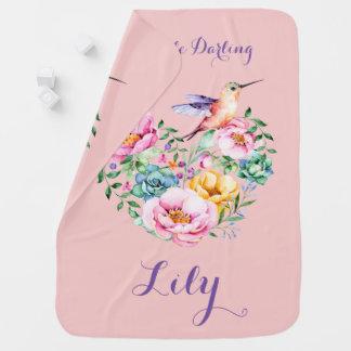 Rose Quartz Flower Heart and Hummingbird Baby Blanket