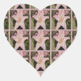 Rose Quartz Lilies Mosaic Squares Heart Stickers