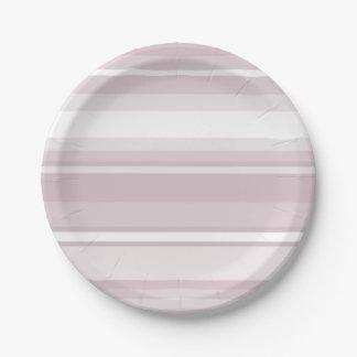 Rose quartz pink stripes paper plate