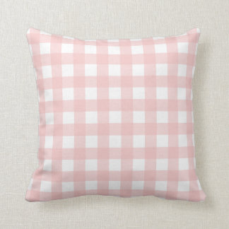 Rose Quartz Pink & White Gingham Check Cushion