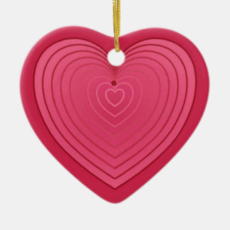 Rose red heart on a deeper red background ceramic heart decoration