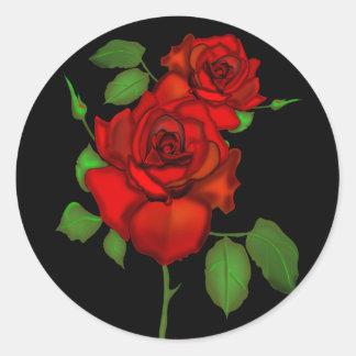 Rose Red Illustration Round Sticker