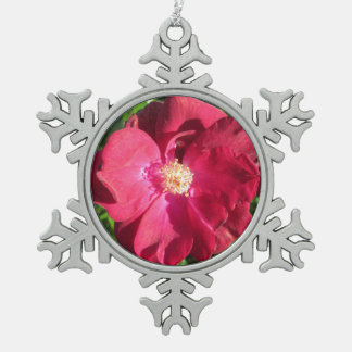 Rose Red Open Pewter Snowflake Decoration