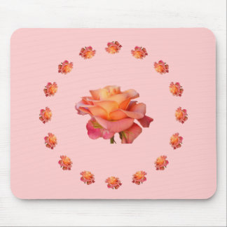 Rose red pink yellow ornament Mousepad