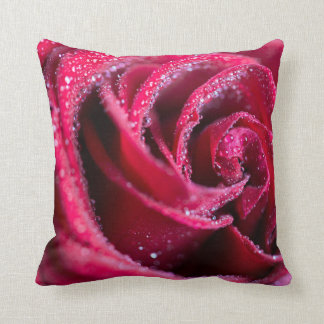 rose red polyester throw pillow
