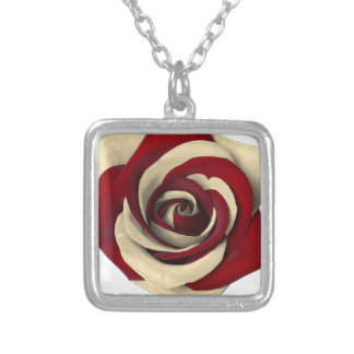 Rose Red Silver Plated Necklace