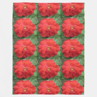 Rose Red Water Bloom Fleece Blanket