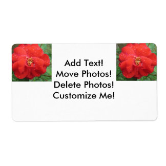 Rose Red Water Bloom Shipping Label