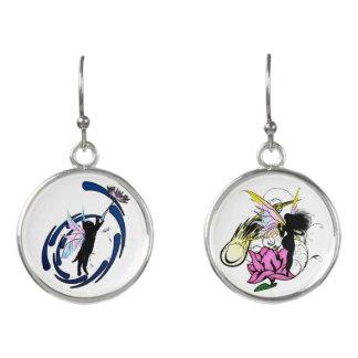 Rose Shadow Fairy and Cosmic Kitty Earrings