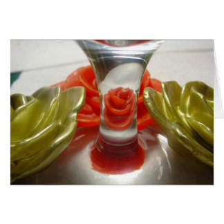 Rose Shaped Candles and Glass Base Card