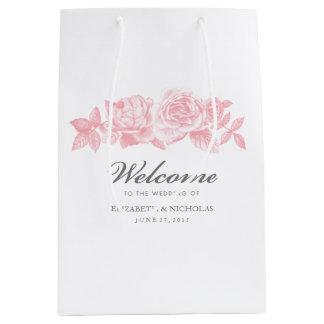 Rose Sketch Gift Bag in Pink