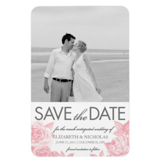 Rose Sketch Save the Date Photo Magnet in Pink Rectangular Photo Magnet
