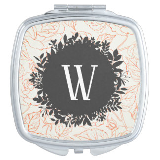 Rose Sketch Seamless Pattern with Monogram Makeup Mirror