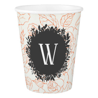 Rose Sketch Seamless Pattern with Monogram Paper Cup
