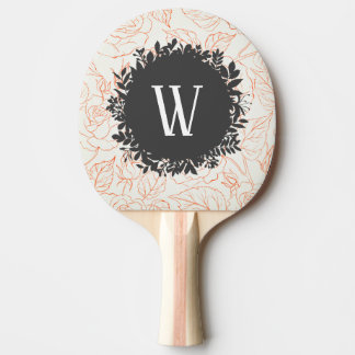 Rose Sketch Seamless Pattern with Monogram Ping Pong Paddle