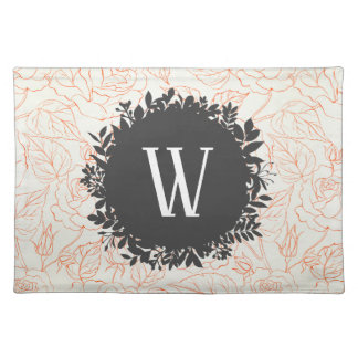 Rose Sketch Seamless Pattern with Monogram Placemat