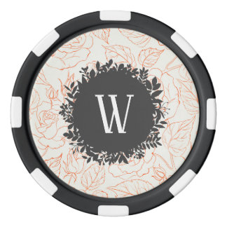 Rose Sketch Seamless Pattern with Monogram Poker Chips
