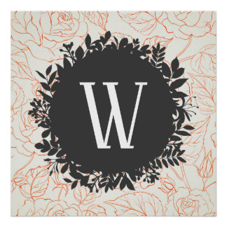 Rose Sketch Seamless Pattern with Monogram Poster