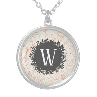 Rose Sketch Seamless Pattern with Monogram Silver Plated Necklace