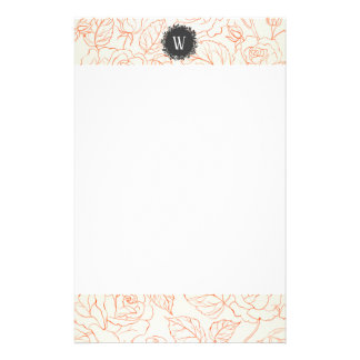 Rose Sketch Seamless Pattern with Monogram Stationery