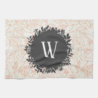 Rose Sketch Seamless Pattern with Monogram Tea Towel