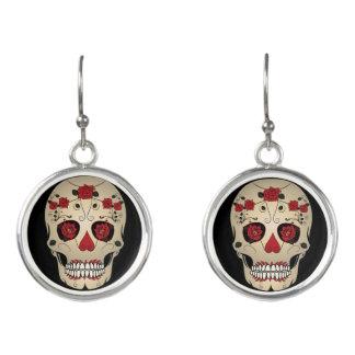 Rose Skull Jewelry - Day of the Dead Skull Jewelry Earrings