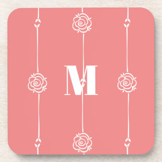 Rose Stripe Monogram in Fusion Coral and White Coaster