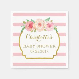 Rose Stripes Gold Pink Floral Baby Shower Disposable Napkin