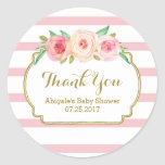 Rose Stripes Pink Floral Baby Shower Favour Tags Round Sticker