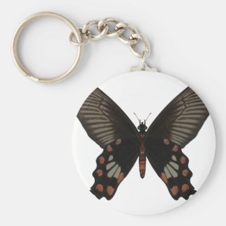 Rose Swallow Tail Butterfly Basic Round Button Key Ring