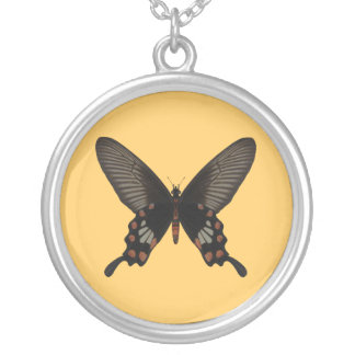 Rose Swallow Tail Butterfly Silver Plated Necklace