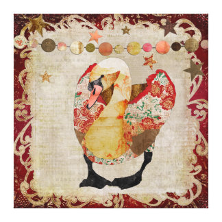Rose Swan Radiant Red Twilight Gallery Wrap Canvas