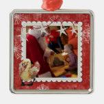 Rose Swan Red Snowflake Photo Ornament