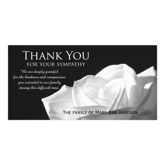 Rose sympathy thank you memorial photo card zazzle for Thank you note for condolence gift